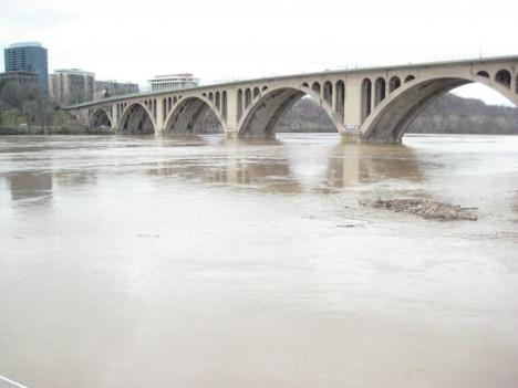 Heavy storms have caused the Potomac to swell and even spill over its banks in some places.