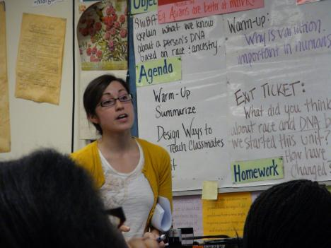 Alexandra Fuentes teaches her students about genetics and DNA at Cesar Chavez Public Charter High School.