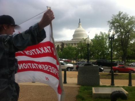 Activists gather on Capitol Hill to protest a House resolution that bans D.C. from using local funds for abortions.