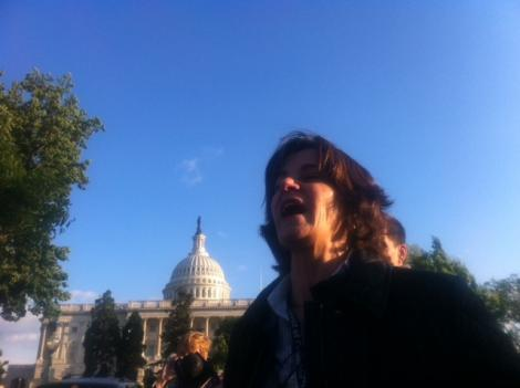 Council member Mary Cheh before being arrested Wednesday at a protest on Capitol Hill.