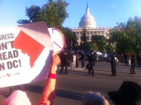 Eight women in all were arrested at the protest of the House bill banning D.C. from using local funds for abortions.