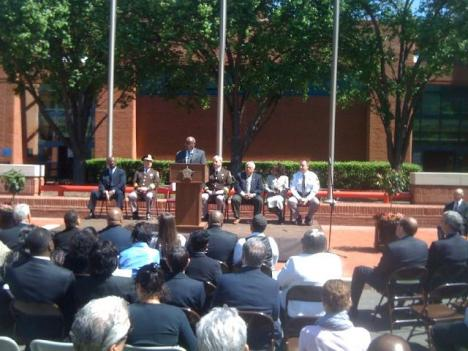 Alexandria Mayor Bill Euille speaks at the dedication ceremony today.