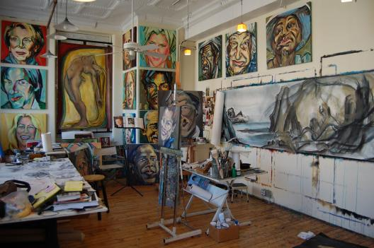 Painter Raye Leith's workspace at 52 O Street Studios.