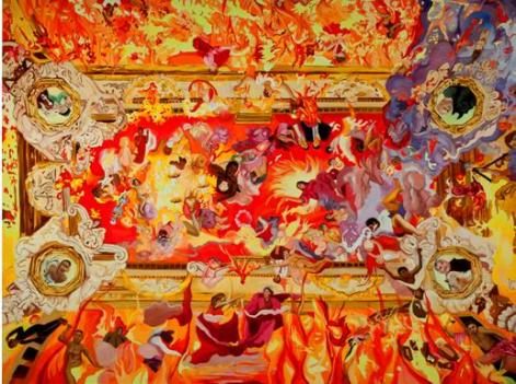 "Heidi Neff Fire and Ice, ceiling C (Triumph of Fire) oil on canvas 72"" x 96"" 2011 (Greater Reston Arts Center)."