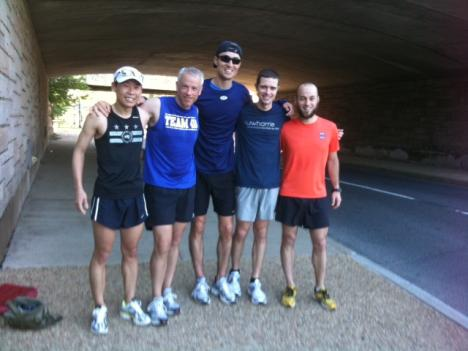 Daniel Yi, Richard Rainey, PJ Martinez, Brian Savitch and Jeff King begin running at Hains Point.