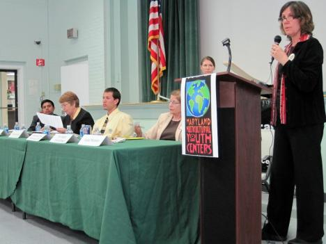 Luisa Montero leads a panel discussion on Mental Health care needs Tuesday night in Langley Park, MD
