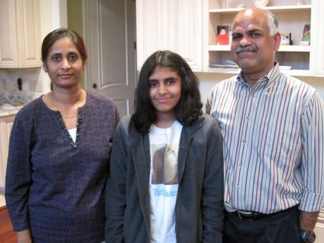 Eigth-grader Saroja Erabelli (center) was turned down by the highly competitive Thomas Jefferson High School, despite her outstanding math skills.