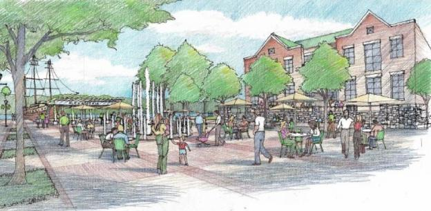 An artist's rendering of Fitzgerald Square, which would be at the foot of King Street.