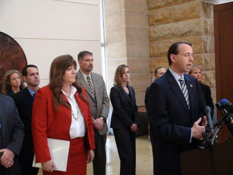 "U.S. Attorney Rod Rosenstein (right) calls Johnson's crimes a ""pay-to-play"" scheme."