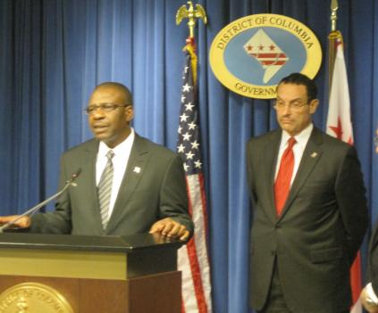 Mayor Vincent Gray (right) is nominated Terry Bellamy (left) to lead his Department of Transportation May 18.