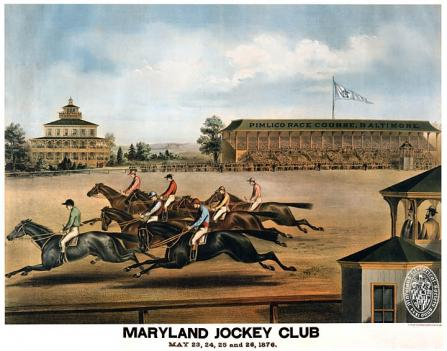 A lithograph from 1876 shows one of the first Preakness Stakes.