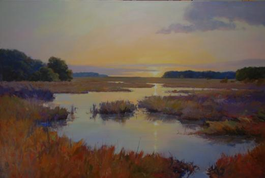 """Autumn Marsh, Early Morning,"" by landscape painter Ed Cooper, whose work is showing at Susan Calloway Fine Arts."