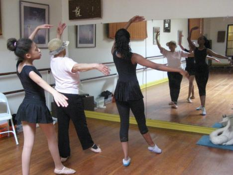 Therrell Smith, age 93, dances with two of her students at the Therrell C. Smith School of Dance.