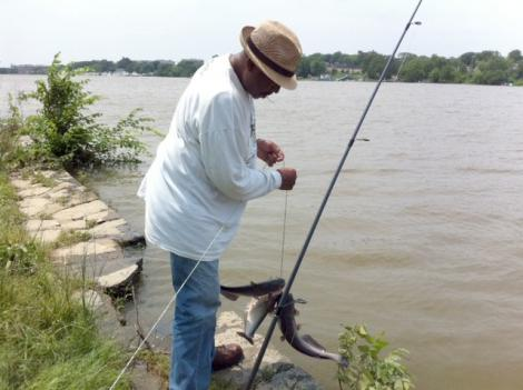 Bobby Jones spends most of his days reeling in river catfish from the Anacostia River.