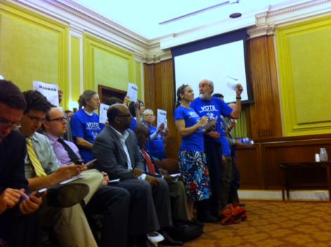 Homeless services advocates make one last ditch protest effort May 25 to get the D.C. Council to restore cuts to programs that help people that are homeless.