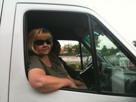 Debi Mathews and Bob Spindler, who run Kent Island Shuttle Service, take a break from their travels across the bridge.
