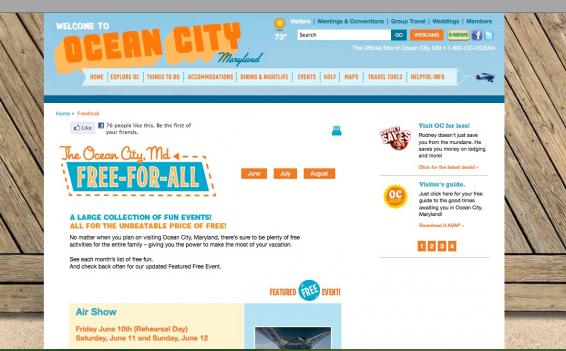 Ocean City, Md., has compiled all its free events for this summer onto one web site.