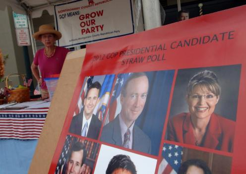 Voters had the choice of several confirmed and unconfirmed 2012 Republican presidential candidates at the Montgomery County GOP's tent in Rockville Sunday.