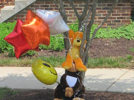 A memorial erected by friends of the sixth-grade girl on June 1.