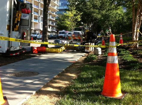 Pepco has been operating a temporary fix -- an above ground cable -- to remedy the power outage that struck the neighborhood last week. Today, they are still working to install a new permanent, underground cable.