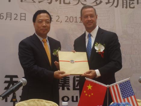 Gov. Martin O'Malley and Tasly Group Chairman Yan Xijun at the company ceremony in Shanghai, China.