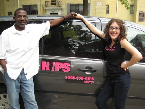 HIPS Outreach Manager Jenna Mellor (pictured with Client Advocate Ed Gadson) exchanges needles around D.C. overnight, in the HIPS Needle Exchange van.