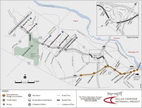 Dulles Metrorail map.