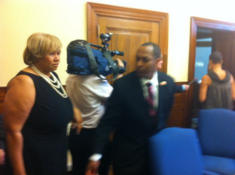 Council member Harry Thomas Jr. at a closed-door meeting with other D.C. Council members Tuesday.