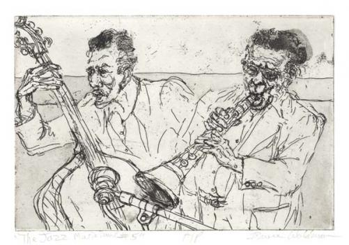 Bruce Waldman's Jazz Musicians is showing in Line and Shadow at Washington's Old Print Gallery.