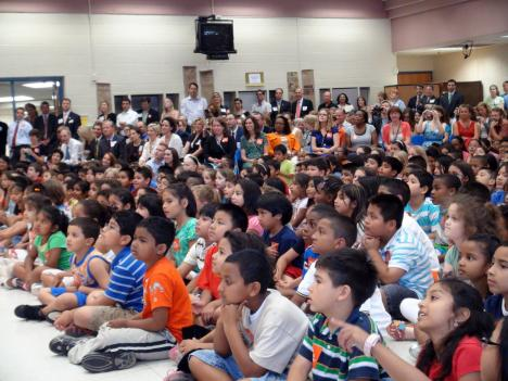 Students at Barcroft Elementary school, which has a largely year-round school schedule.