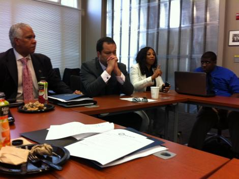Hilary Shelton, left, and Benjamin Jealous, middle, discuss the NAACP's Climate Justice Initiative.