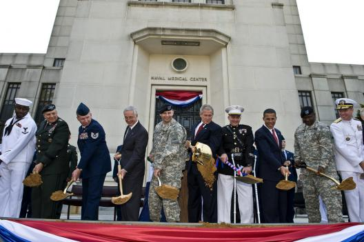 Operations at Walter Reed will move to the new Walter Reed National Military Medical Center in Bethesda. Former President George W. Bush (center, right) attended the groundbreaking for the new facility in July 2008.