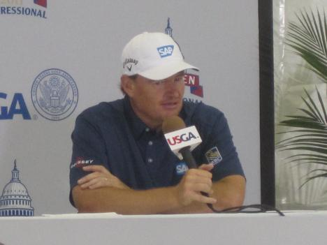 Ernie Els speaks to the media at the Congressional Country Club Tuesday.