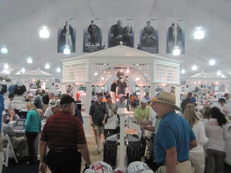 The merchandise tent at the Congressional Country Club is the largest temporary structure built for the U.S. Open.