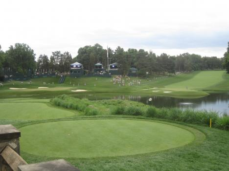 The 10th green (left) and 18th green (right) are homes to birds and other wildlife. The superintendent of the course says monitoring them is a major part of regular course maintenance.