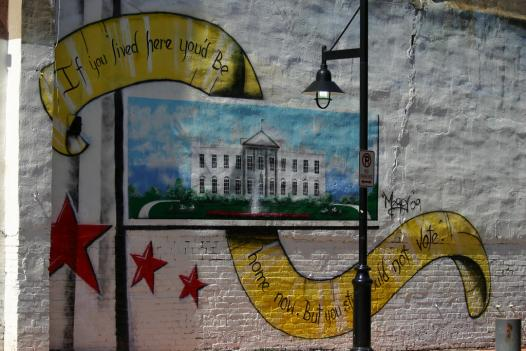 """Mural in Adams Morgan: """"If you lived here you'd be home now. But you still could not vote."""""""