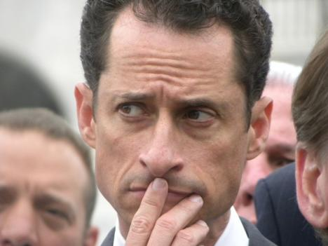 Anthony Weiner, who resigned from Congress Thursday, at a press conference in May.