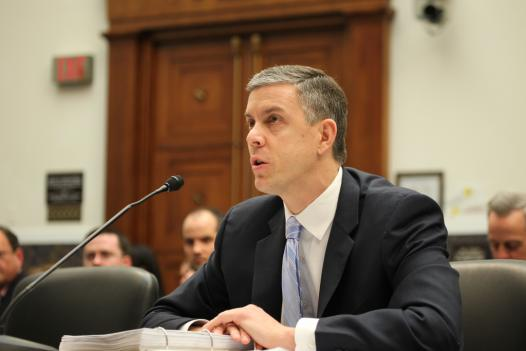 Secretary of Education Arne Duncan at a House committee hearing in March.