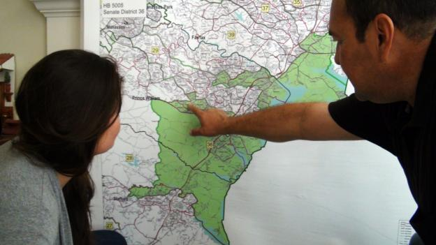 Tito Munoz, running in the Republican primary Aug. 23 for state senate in Virginia, checks out the 36th District map.