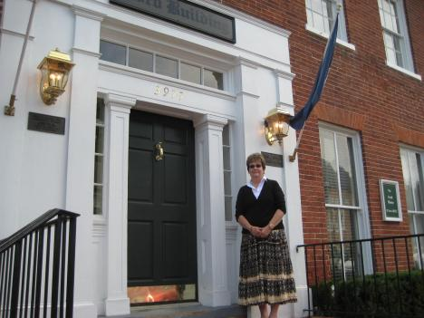 Historian Susan Inskeep Gray outside the old Ford home, now the Ford Building, in Old Town Fairfax, Va.