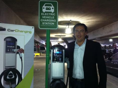 Michael Farkas, CEO of Car Charging Group, at one of the new charging stations at Union Station.