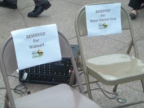 Chairs were reserved for both Wal-Mart and Mayor Gray, but neither party made it to the rally.