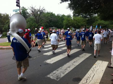 A marching band provides entertainment at the Palisades Parade July 4 in Northwest D.C.