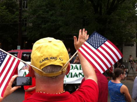 Spectators show off patriotic flair at the Palisades Parade July 4 in Northwest D.C.