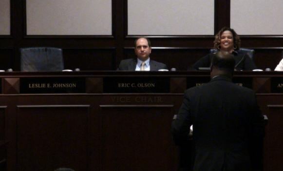 Leslie Johnson was not present in her usual seat when the Prince George's County Council voted to remove her office of all its staff and resources July 5.