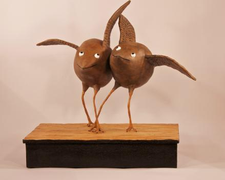 Ken Beerbohm's fun-loving flightless birds nestle in at the Artists' Gallery in Columbia.