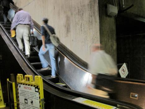 There are two escalators leading out of the platform at Union Station, one of Metro's busiest stations.