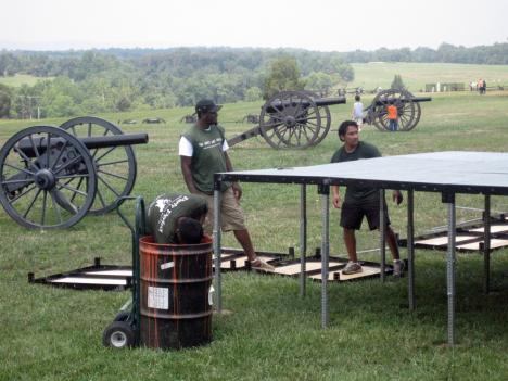 Park staff prepare the stage where Virginia Governor Bob McDonnell will address dignitaries during Thursday's commemorative ceremony at the Manassas battlefield.