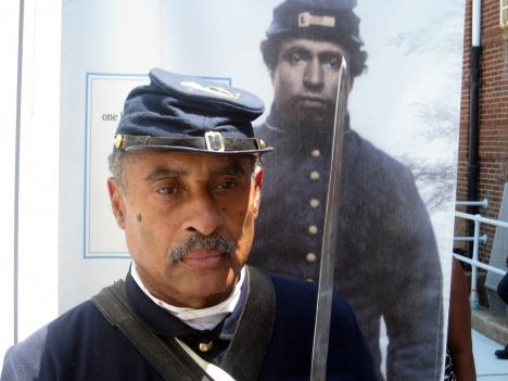 Leon Vaughn, a Massachusetts 54th Regiment Company B Civil War reenactor, at the July 18 opening ceremony for the new African American Civil War Museum in Northwest D.C.