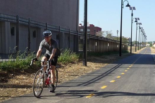 A cyclist riding the Metropolitan Branch Trail, which runs from Union Station to Silver Spring, Md. A rash of crime has affected bikers and pedestrians on the trail in recent months.